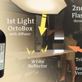 """Cómo fotografiar una botella: making off y esquemas de iluminación. """"RonDiplomático"""""""